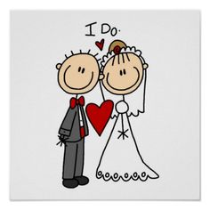 """A stick figure bride and groom say """"I Do"""" on wedding postage stamps that are perfect for your wedding invitations, bridal shower invites, or thank you notes! Wedding Cards, Wedding Gifts, Wedding Favors, Wedding Drawing, Stick Figure Drawing, Photo Magnets, Stick Figures, Stone Art, Custom Posters"""