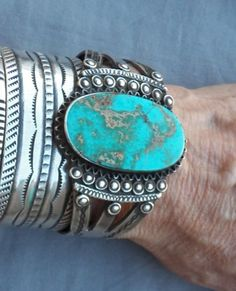 Old-Vintage-Navajo-Indian-Silver-Royston-Turquoise-Cuff-Bracelet