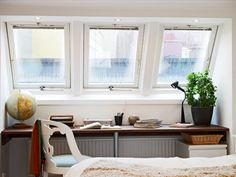windows + globe + desk