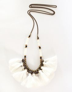 tribal + tassel + necklace + white