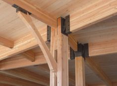 wood and steel beams Timber Architecture, Timber Buildings, Architecture Details, Wood Steel, Wood And Metal, Timber Beams, Timber Structure, Wood Joints, Into The Woods