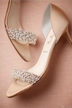 Gorgeous Wedding Shoes Summer Champagne High Heels Medium Length Decorated With Beading Pearls Open Toe High Heels Women Shoes Ivory Bridal Shoes Uk Ivory Kitten Heel Wedding Shoes From Everytide, $89.01| Dhgate.Com