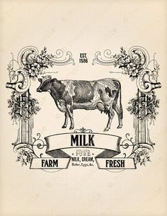 ideas dairy farm decor products for 2019 Vintage Images, Image Transfer, Digital Clip Art, Vintage Graphics, Art, Vintage, Vintage Prints, Prints