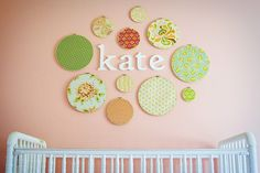 Wall display. Use embroidery hoops to hold vintage or vintage style fabrics.