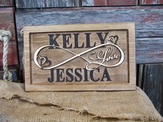 Personalized Couples NAME infinity Sign CARVED by Lovejoystore