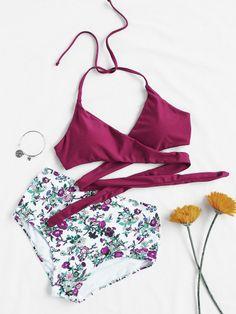 Calico Print High Waist Wrap Bikini SetFor Women-romwe