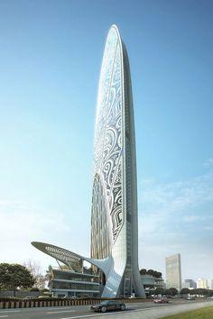 Artistic Namaste tower in Mumbai / India
