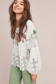 Tracy Reese x Anthropologie Enemene Embroidered Peasant Top Women's Summer Fashion, Boho Fashion, Vintage Fashion, Fashion Looks, Boho Outfits, Cute Outfits, Fashion Outfits, Différents Styles, Plus Size Clothing Online