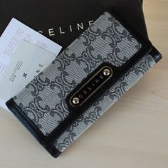 Celine Long Wallet Canvas Grey