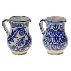 Pair of Vintage Blue and White Hand-Painted Moroccan Carafes | From a unique collection of antique and modern pitchers at https://www.1stdibs.com/furniture/dining-entertaining/pitchers/