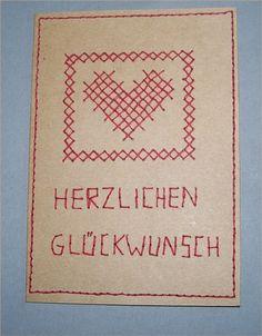 Bestickte Grußkarte | Bastelfrau