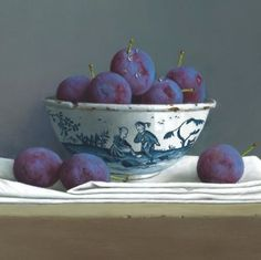 Plums in a Chinese Bowl by Tony de Wolf