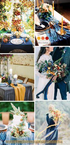 palette de couleurs de mariage jaune moutarde, orange et bleu marine Mariage  Jaune Moutarde,