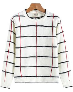 White Long Sleeve Plaid Knit Sweater 21.67