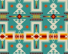 Tucson Southwest Aztec Red Orange Design on Turquoise Cotton Fabric Fat Quarter Aztec Fabric, Turquoise Fabric, Indian Fabric, Black Fabric, Native American Patterns, Native American Art, Tribal Patterns, Tribal Prints, Fabric Patterns