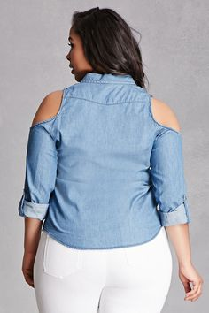 A woven chambray shirt featuring cutout shoulders, a basic collar, buttoned placket, a chest patch pocket, and rolled 3/4 sleeves. This is an independent brand and not a Forever 21 branded item.