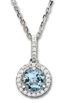 Aquamarine and Diamond Halo Pendant Aquamarine Necklace, Birthstone Necklace, Gold Necklace, Pendant Necklace, Halo Diamond, Diamond Cuts, Becca, Classy Outfits, Birthstones