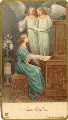 Saint Cecelia's other splendid organ. Catholic Gifts, Catholic Art, Religious Art, Roman Catholic, St Cecelia, Sainte Cecile, Vintage Holy Cards, Religion Catolica, Religious Pictures