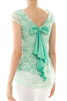 Mint Green Floral Lace Lined Bow Back Stretch Top Blouse Shirt Large $129 #Dresscode #Blouse #Casual