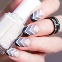 Its all about chevron with this cashmere matte nail art.  #nailart #manicure #chicnails #blackandwhitenails #nailpolish