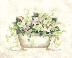 Annie Lapoint -  Hydrangea Bath Bathroom Art, Laundry In Bathroom, Bathroom Colors, Decoupage Vintage, Decoupage Paper, Flower Images, Flower Art, Shabby Chic Bedrooms, Vintage Flowers