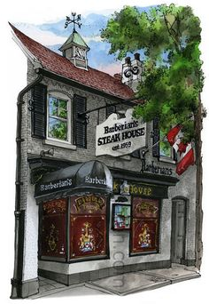 Barberians Steak House, Toronto by David Crighton Toronto City, Toronto Canada, Great Steak, Canadian Artists, Floating Frame, Amazing Art, Awesome, Canvas Frame, Night Life