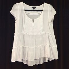 """Two American eagle tops, one white/ one mauve """"Baby doll"""" style tops, in two colors, adorable with jeans and heels! One is white, the other is a mauve/pink color American Eagle Outfitters Tops Blouses"""