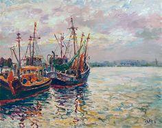 Zar (Valery Tsarikovsky) - Barcos de pesca a la puesta de sol