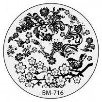 Bundle Monster Nail Stamping Plate 2015 Secret Garden Collection - BM716: Sitting Under The Sakura