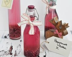 Pomegranate vodka is an easy to make drink thats an ideal extra thoughtful gift or impressive party tipple. Add a little to a glass of bubbly for an ultra glam treat Homemade Christmas Gifts, Xmas Gifts, Homemade Gifts, Christmas Ideas, Xmas Presents, Diy Gifts, Holiday Ideas, Homemade Alcohol, Homemade Liquor