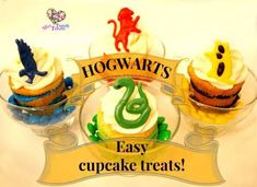 HARRY POTTER 'THE FOUR HOUSES OF HOGW ARTS' CUPCAKES!