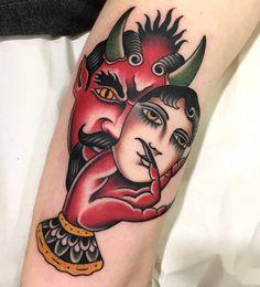 Devil Lady @julianfrogon at @blessedtattoozgz in Zaragoza Spain. #devil #lady #traditionaltattoo #traditionaltattoos #julianfrogon #blessedtattoozgz #zaragoza #spain #tattoo #tattoos #tattoosnob