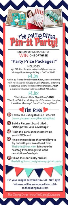It's a par-tay!  You could win lots of fabulous prizes just for doing what we all love to do anyway- pinning! Hurry & check out the details!  All are invited!! www.TheDatingDivas.com #pinterest #pinterestparty #pinittowinit