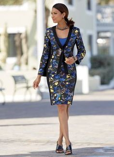 """Smudge Floral Suit from Monroe and Main.  Slimming, shape-defining panels of double-knit ponte create an appealing silhouette. 21"""" l skirt has a smooth Hollywood waist."""