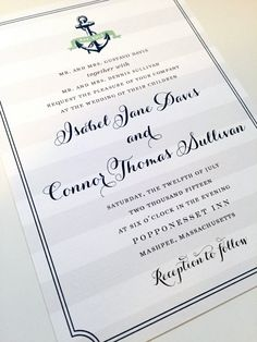 Wedding Invitation  Anchor Design Nautical by dhfitzgeralddesigns