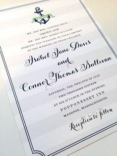 Wedding Invitation  Anchor Design Nautical by dhfitzgeralddesigns
