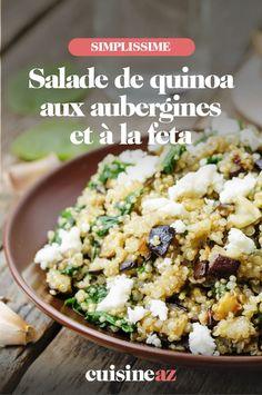 Une recette estivale de salade de quinoa aux aubergines et à la feta. #recette#cuisine #salade #quinoa #aubergine #feta Aubergine Feta, Potato Salad, Grains, Rice, Potatoes, Ethnic Recipes, Food, Quinoa Salad, Chopped Salads