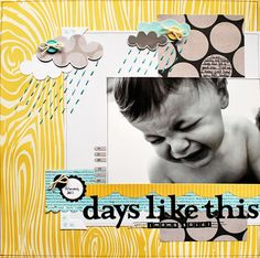 """Stitching as rain. idea to use text """"there'll be days like this."""""""