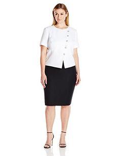 4eb2f9bcac36 Tahari by Arthur S Levine Womens Plus Size Skirt Suit IvoryBlack 16W ** See  this