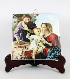 #Catholic gift - Holy Family #icon on tile https://www.etsy.com/it/listing/243348999/catholic-gifts-the-holy-family-religious