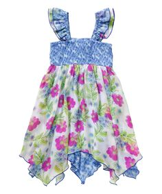 Look at this Youngland Blue Floral Handkerchief Dress - Toddler & Girls on #zulily today!