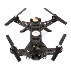Walkera Runner 250 Racing Drone- Carbon Fiber Frame- -Modular design (Easy to repair)- -Plug and Play (Simple to assemble and disassemble) Two cameras: Built FPV camera and support for an optional camera for video recording (GoPro, Mobius, etc…) -Self-Tightening Propeller Blades -Main Rotor Diameter: 140mm -Dimensions (LxWxH): 225 mm x 205 mm x 92 mm -Weight: 530 grams including battery -Get one at www.HobbyFlip.com