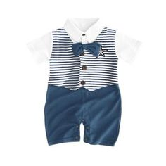 Dinlong Baby Boy Clothes Romper Gentleman Bow Tie Boat Print Long Sleeve Overall Jumpsuits