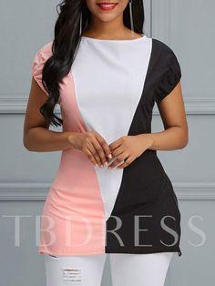f33754d325f7e Slim Color Block Mid-Length Women s T-Shirt Cheap Clothes Online