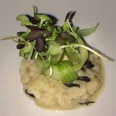 Trumpet Mushroom Risotto With Guinea Hen, Mustard Micro Greens @ Graham Elliot