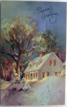 #65 60s Cozy House at Night- Vintage Rust Craft Christmas Greeting Card