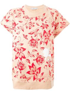 #Pink and #red cotton blend boxy #floral #sweatshirt from #Adidas by Stella McCartney featuring a crew neck, short wide sleeves, a loose fit, a straight hem and a floral print.