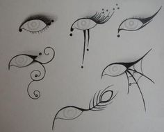 Eyeliner ideas for halloween -- If I ever decide to dress up for Halloween, these would be awesome. So trying.