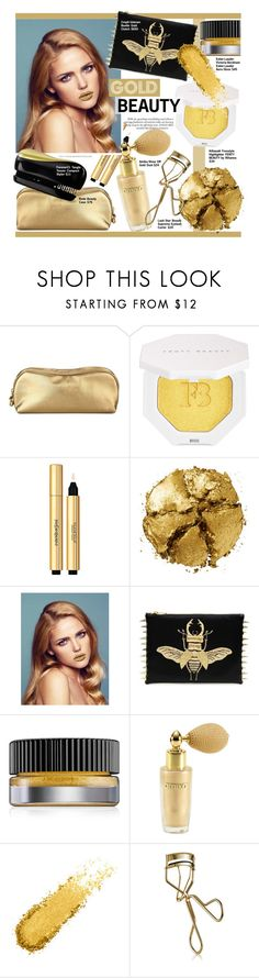 """Gold Beauty"" by chocolate-addicted-angel ❤ liked on Polyvore featuring beauty, Rodo, Puma, Yves Saint Laurent, Pat McGrath, Estée Lauder, amika, Lash Star Beauty, Forever 21 and glam"