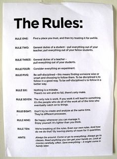 The Rules, by John Cage, via John Maeda, Brian Goldberg,and Merce Cunningham.  pic.twitter.com/ucHFAxgM